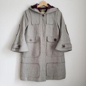 D Canadian 100% Wool Hooded Coat w/ Bell Sleeves